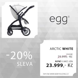 BabyStyle EGG kočárek Arctic White/Gun Metal rám 2016