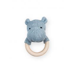 Jollein Chrastící kousátko Soft knit hippo soft blue