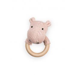 Jollein Chrastící kousátko Soft knit hippo creamy peach