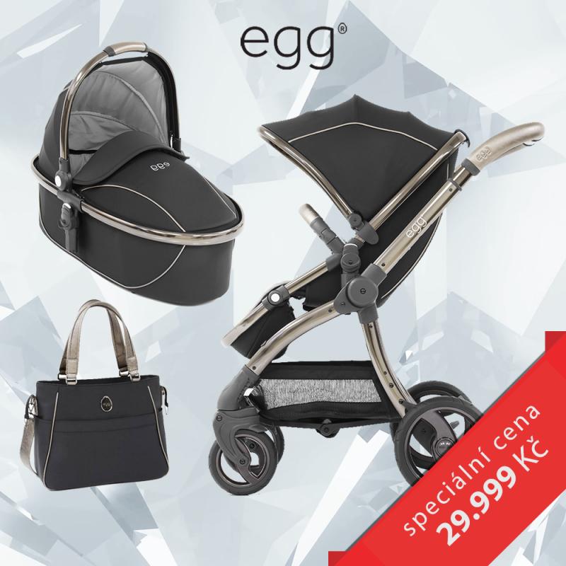 BabyStyle EGG set Shadow Black/ Black rám, kočárek + hluboká korba + taška + adaptéry