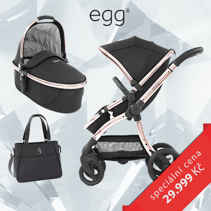 BabyStyle EGG set Diamond Black / Rose Gold, kočárek + hluboká korba + taška + adaptéry