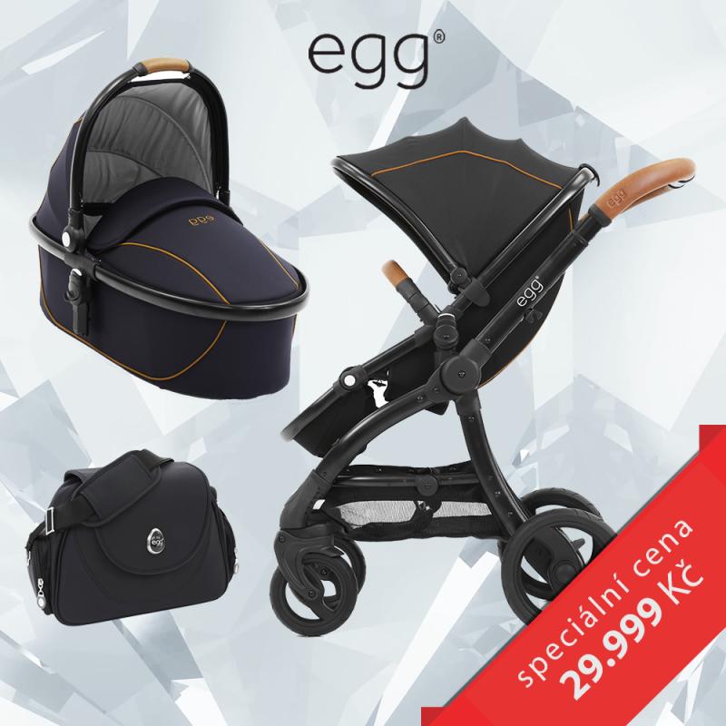 BabyStyle EGG set Espresso/Black rám, kočárek + hluboká korba + taška + adaptéry