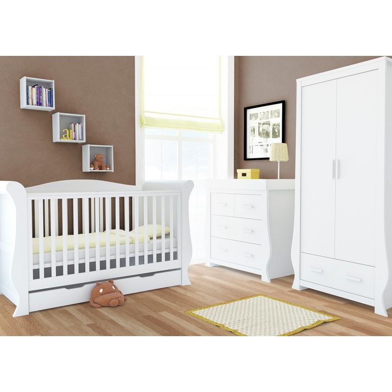 BabyStyle Hollie dětský pokoj, Fresh White (set: postýlka, komoda, skříň)