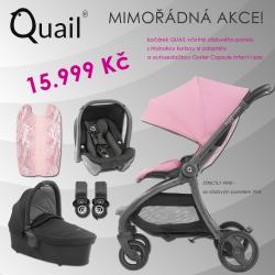 BabyStyle Egg Quail kočík 2019 + vanička + adaptéry + autosedačka, Strictly Pink/ Pink