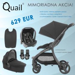 BabyStyle Egg Quail stroller 2019 + carrycot + adaptors + car seat, Gotham Black/ Black