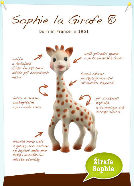 88ee172e6750 ... ouška žirafy Sophie). Geniální  díky zakřivení se kousátko dokonale  přizpůsobí ústům nebo patru dítěte. Na každé ze stran je jiný reliéf k  uklidnění